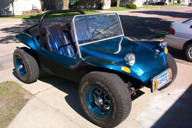 A strato  blue buggy with a black base coat.